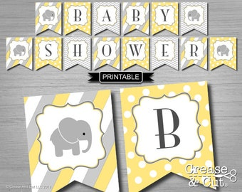 DIY Yellow and Gray Elephant Theme Baby Shower Decorations Banner Bunting Flags Digital Printable PDF Instant Download-Baby Shower