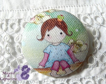 Fabric button, printed Matilda doll,1.25 in / 32 mm