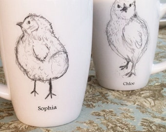 Holiday Gift, Personalized Gift, Couples Gift, Mother's Day gift, Baby Chick Mug Baby Gift, Personalized Wedding Gift, Cups (set of 2)