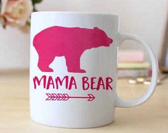 Mama Bear Pink Coffee Mug / Pink Watercolor Mama Bear 11 or 15 oz Coffee Mug / Gift for New Mom