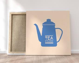 Kitchen Art Vintage, Minimalist Canvas, Large Printable, Digital Download, Nursery Decor, Home Decor, Tea O'Clock, Prints for Sale