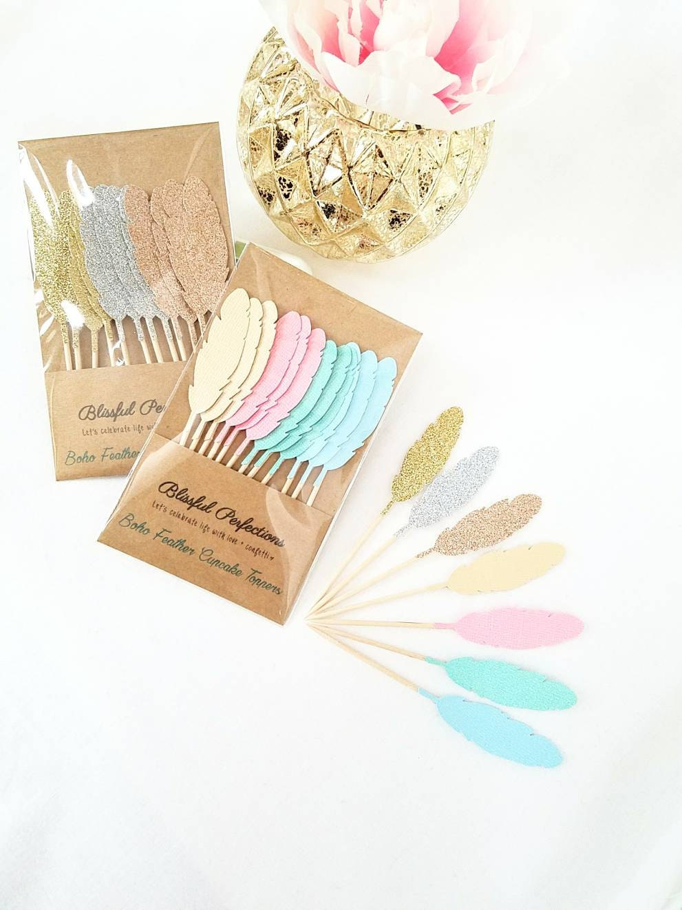 Boho Party Feather Cupcake Toppers Feather Toppers Boho