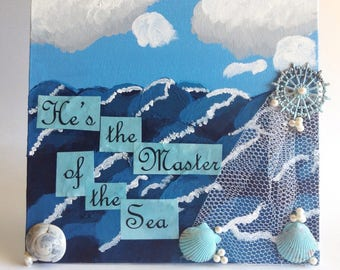 Master of the Sea Mixed Media Assemblage - Christian Art - 3D Art - Mixed Media Collage