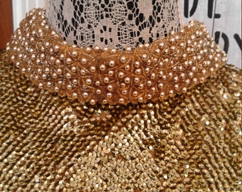 1950s Gold Bead And Sequins Wool Fully Lined Blouse/Jacket