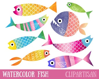 Watercolor Fish Clipart / Watercolour Clip Art