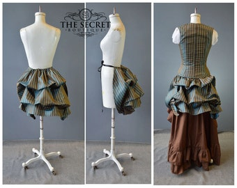victorian bustle, tie on steampunk skirt is made to order