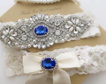 Something Blue garter set, Blue Wedding Garter, Bridal Garter Set, Ivory Garter Set, Crystal Pearl Garter, Ivory Wedding Garter