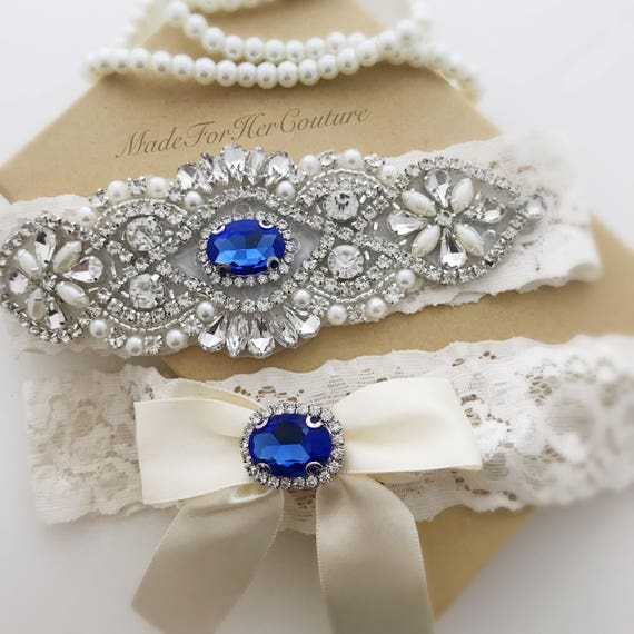 What Is Wedding Garter: Something Blue Garter Set Blue Wedding Garter Bridal Garter