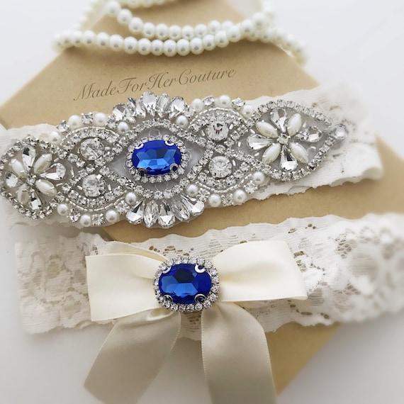 Something Blue Garter Set Blue Wedding Garter Bridal Garter