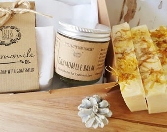 Chamomile Gift Set, Soap & Balm, Natural Skincare, Goatsmilk Soap with Chamomile