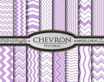 Purple Chevron Digital Paper Pack - Instant Download - Wisteria Digital Scrapbook Paper with Chevron Stripe