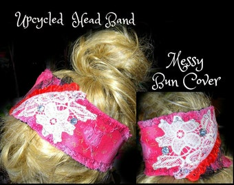 messy Mom bun , women's headband  , ponytail cover , Mom bun , messy ponytail , hair wrap , # 89