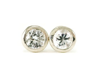 White Sapphire Studs - Sterling 4mm Sapphire Earrings .50 ctw - Bezel Set Gemstone Post Earrings