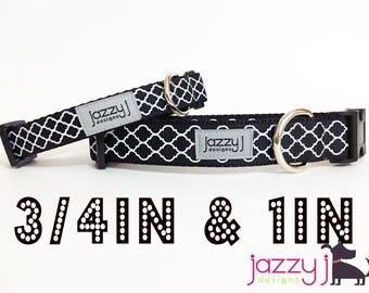 Black and White Trellis Quatrefoil Dog Collar