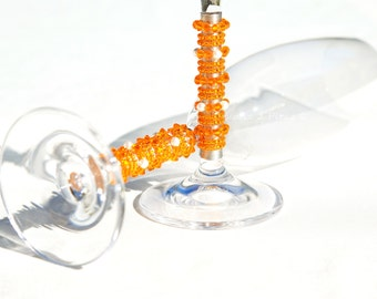 Wedding flutes, champagne flutes beaded Swarovski crystal toasting flutes bright orange, summer wedding champagne flutes personalized custom