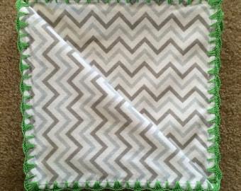 Crochet/Flannel Baby/Receiving Blanket - Cheveron, royal blue