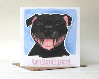 Happy Staffie Birthday! Card (Staffordshire Bull Terrier)  - Black / Blue