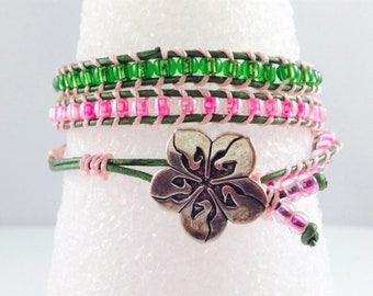 Pink & Green Crystal Seed Bead Wrap Bracelet with Metal Button