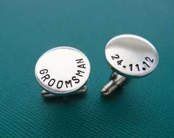 Personalized Cufflinks - Groomsman Cufflinks - Custom Aluminum Cuff links
