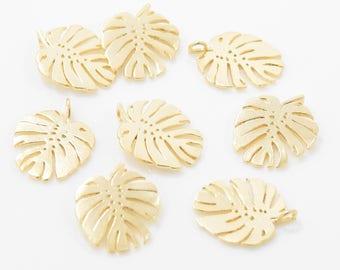 Tropical Foliage Pendant . Tropical Foliage Charm . Leaf Pendant . Leaf Charm . 16K Matte Gold Plated over Brass - 2pcs / IA0189-MG