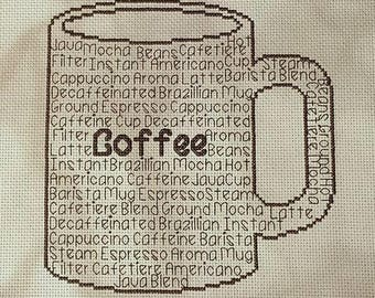 Coffee In Words Cross Stitch Chart