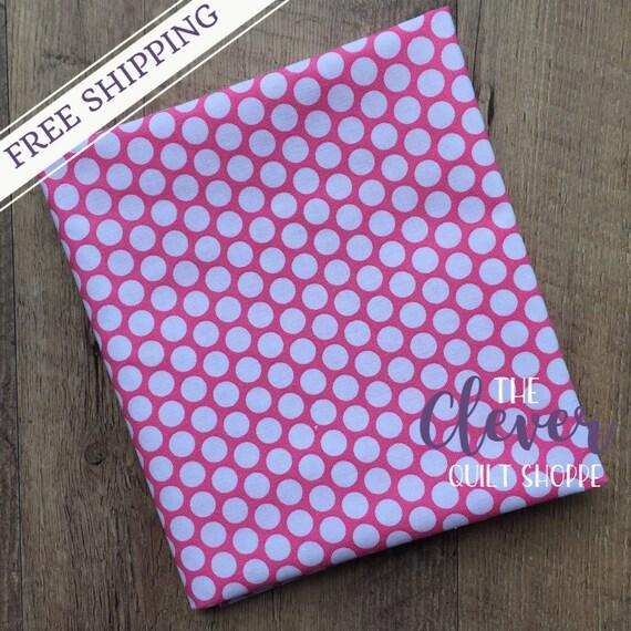 Quilting Fabric, Riley Blake, White Honeycomb Dot on Hot Pink  Basics