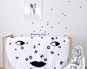White MOON ALPHABET / ABC / Play Mat/  Floor Rug / Nursery Decor / Hand Printed