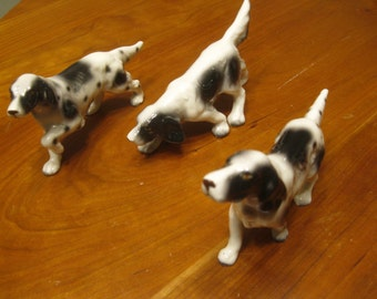Springer Spaniels , Three English Spinger Spaniels , Mid Century Japan Dogs , Dog Figurines