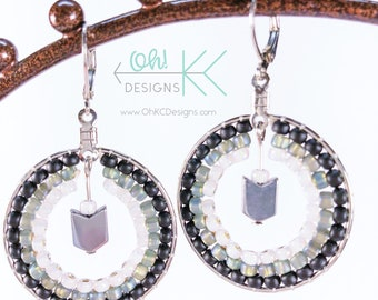 Black, white, and gray brick-stitch beaded hoop earrings