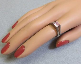 1980s Modern Sterling Pink CZ Ring,  Size 6 Ring