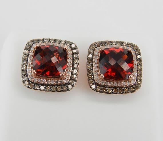 4.50 ct Garnet and Fancy Cognac Diamond Halo Rose Gold Stud Earrings January Gemstone