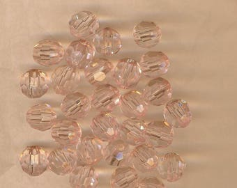 Pink pearls, faceted beads 12 mm, light pink, plastic beads, jewelry supplies