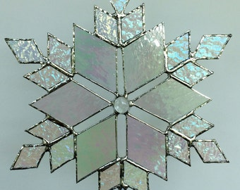 stained glass snowflake suncatcher  (design 13)