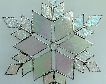 stained glass snowflake suncatcher  (design 13)