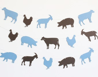 Farm Animal Party Banner with Goat, Pig, Cow, and Chicken - Customizable Colors