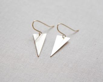 Gold Triangle Earrings | Spike Earrings | Gold Dangle Earrings | Geometric Jewelry