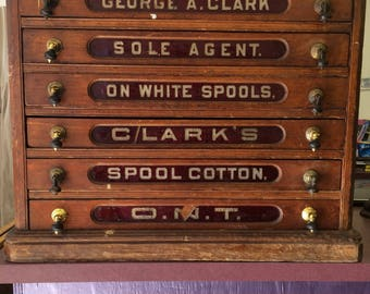 Antique Clarku0027s O.N.T. Spool Cotton 6 Drawer Spool Cabinet