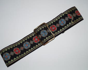 1920s/1930s Vintage embroidered belt with suede backing - 30""