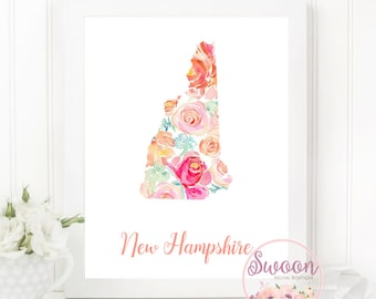 New Hampshire Floral Print, New Hampshire State Printable, Floral Watercolor State, Hometown Printable, Housewarming Gift, For Women