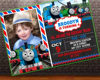 Thomas Train Invitation, Thomas Train Birthday Invitation, Thomas Invitation, Thomas Birthday Invitation, Thomas and Friends Invitation
