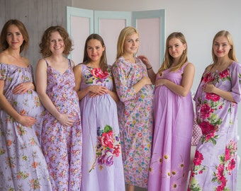 Stork Dreams Lilac - Maternity Nightgown, Maternity Nightie, Maternity Bed Gown, Pregnancy Nightdress, Pregnancy Pjs, Baby Shower Gift