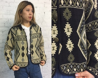 vintage southwestern jacket / native american woven light jacket / neutral black and cream ganado pattern cardigan