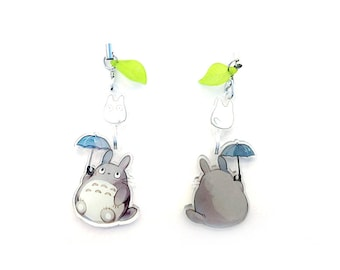 My Neighbor Totoro - Deluxe Hand-Drawn Double Sided Front & Back Anime Acrylic Charm with Phone Strap