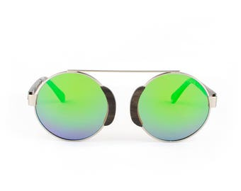 Wooden Sunglasses, Wood Frame Sunglasses, Silver Finish, Handmade Darkwood Oxford - Silver Lime Sunglasses by WINKWOOD