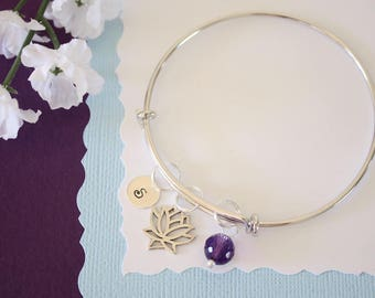 Personalized Lotus Bangle Bracelet Silver, Initial Bangle, Expandable, Sterling Silver, Mommy Charm, Friendship, Monogram, BFF, Amethyst