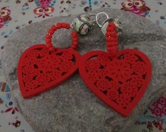 Earrings red/pierced earrings polymer pierced wooden hearts