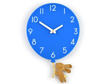Bunny & Blue Balloon - Blue Balloon Wall Clock - Children's Room Decor - Nursery Decor - Baby Shower Gift - Simple Wall Clock