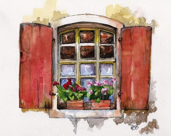 "Window Painting - Print from Original Watercolor Painting, ""Red Window"", Garden Decor, Red Geraniums"