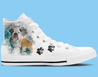 British Bulldog Artwork High Top Shoes / Sneakers - Dog lovers shoes