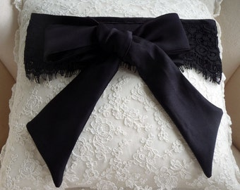 Luxurious 100% silk and lace black Blindfold /luxury blindfold/lingerie